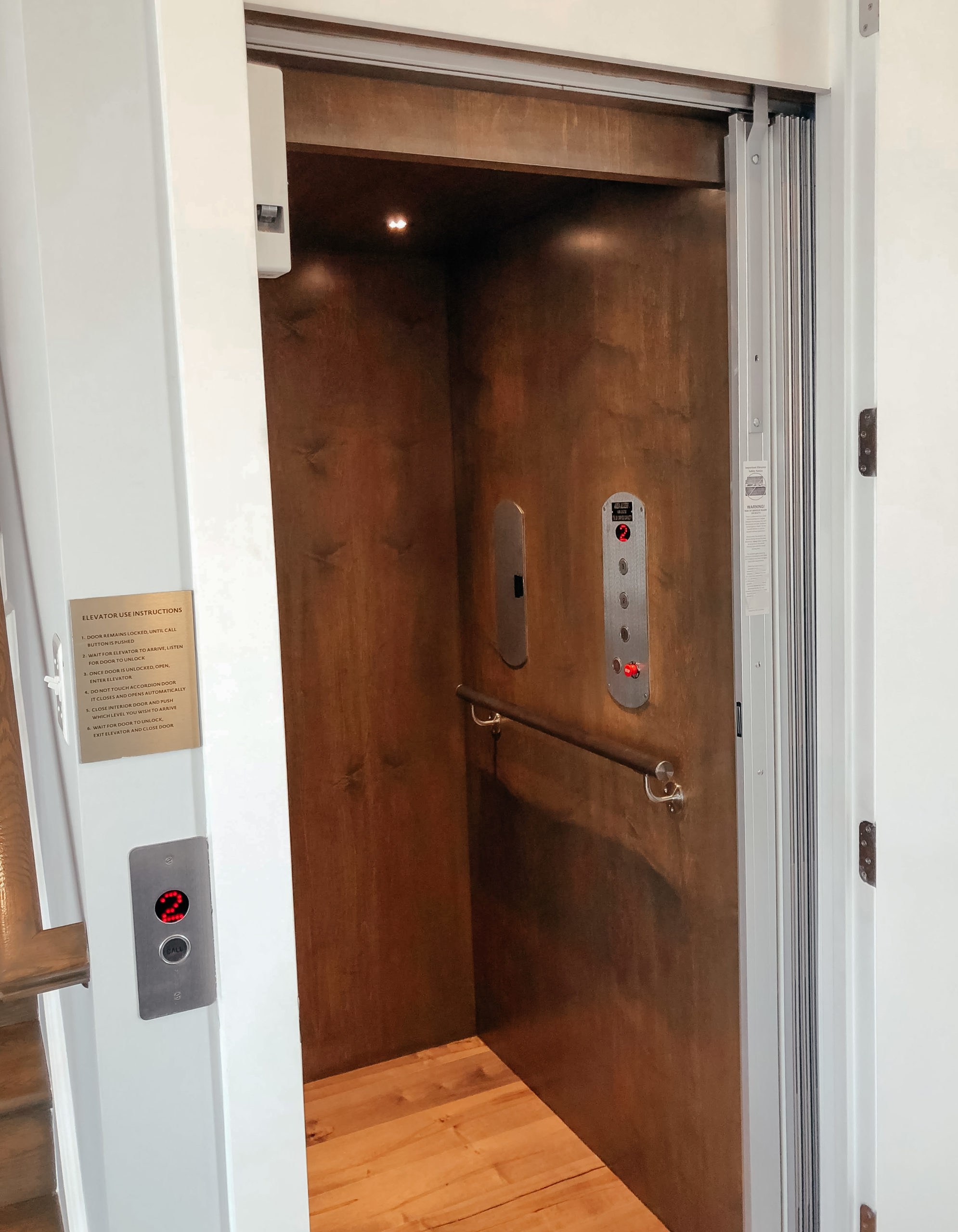 Interior of an in-home 3-stop elevator.