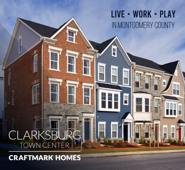 2-Car Garage Townhomes in Montgomery County, MD, Clarksburg Town Center by Craftmark Homes
