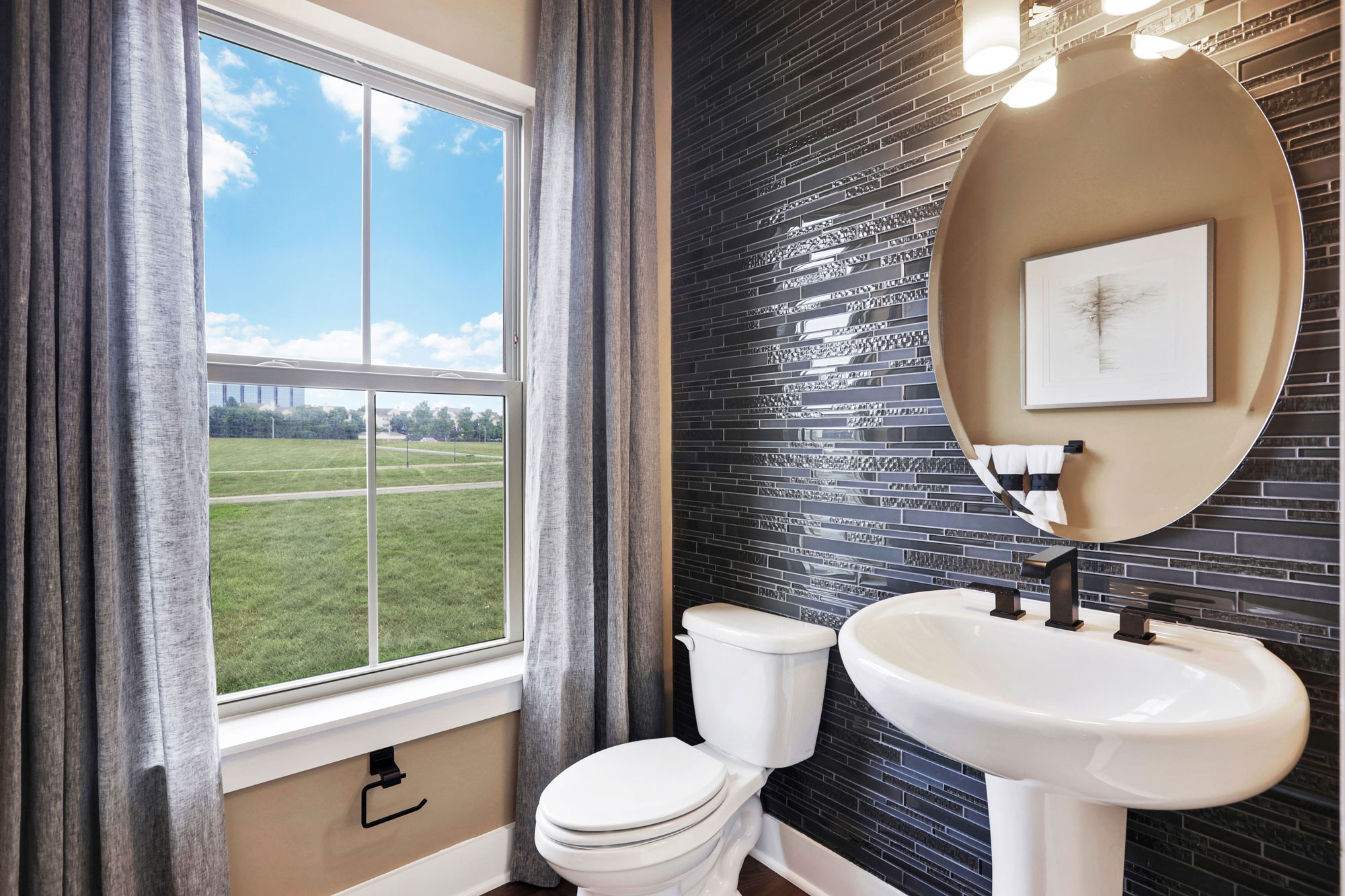 Powder Room, Elevator Townhomes in Gaithersburg, MD, Crown by Craftmark Homes
